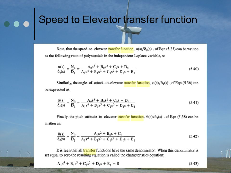 Speed to Elevator transfer function