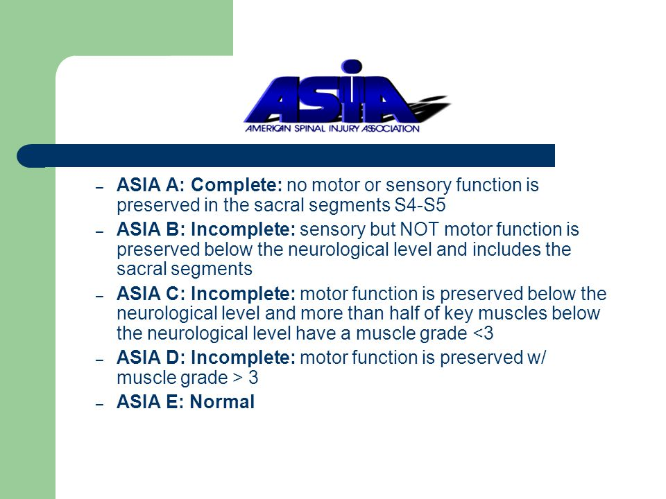 ASIA A: Complete: no motor or sensory function is preserved in the sacral segments S4-S5