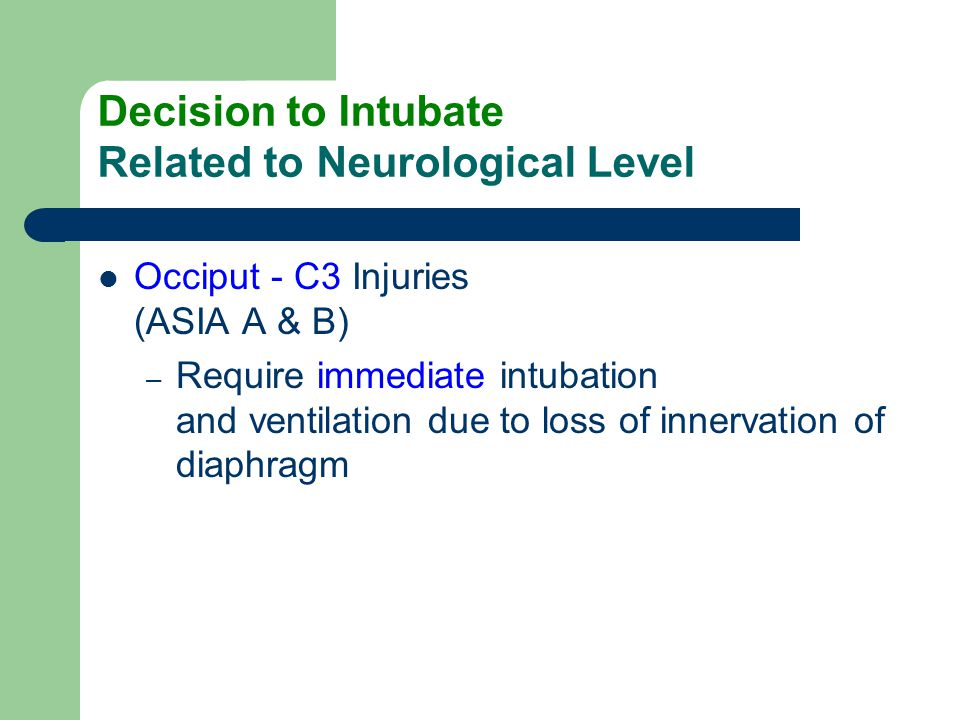Decision to Intubate Related to Neurological Level