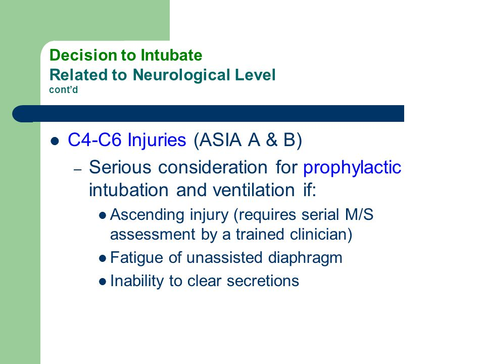 Decision to Intubate Related to Neurological Level cont'd