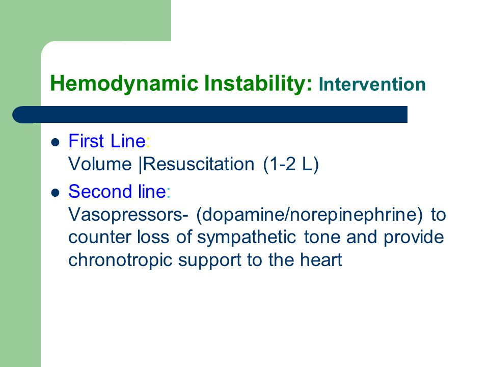 Hemodynamic Instability: Intervention