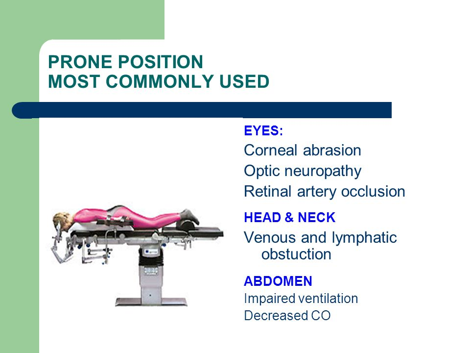PRONE POSITION MOST COMMONLY USED