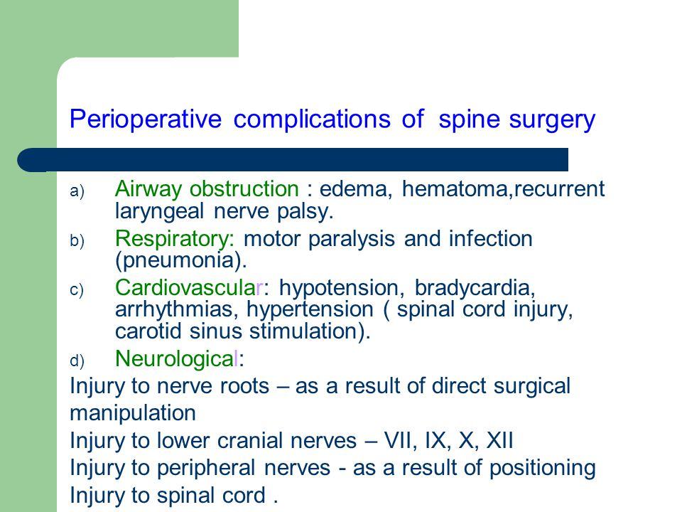 Perioperative complications of spine surgery
