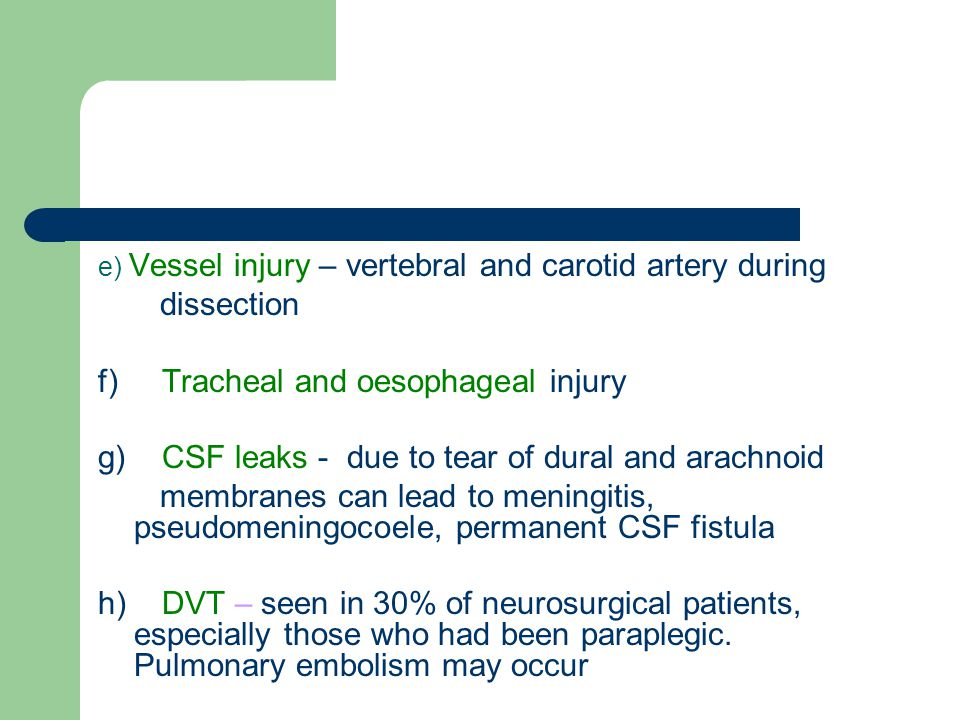 f) Tracheal and oesophageal injury