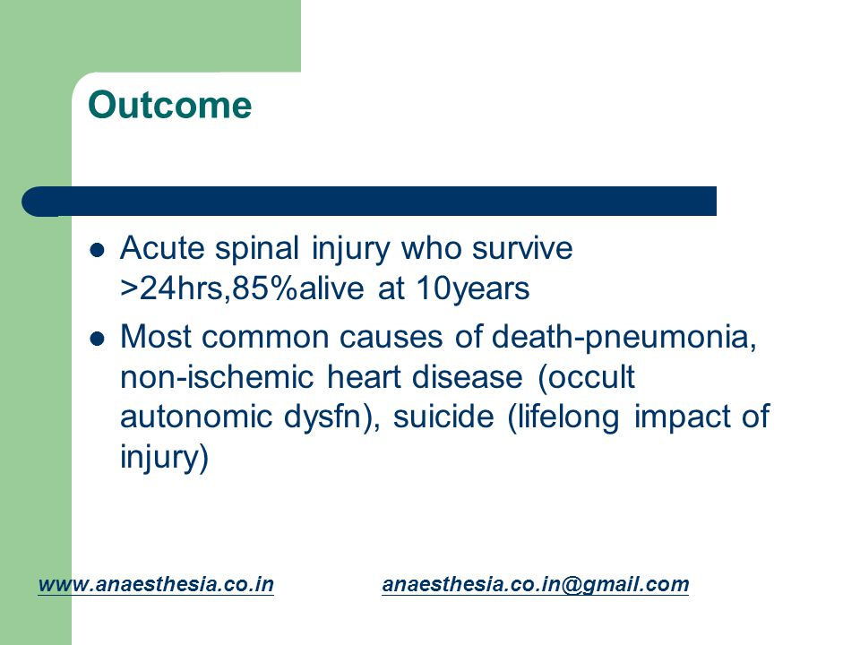 Outcome Acute spinal injury who survive >24hrs,85%alive at 10years