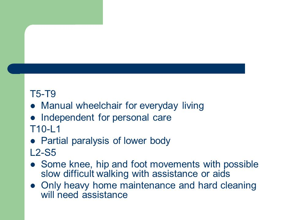 T5-T9 Manual wheelchair for everyday living. Independent for personal care. T10-L1. Partial paralysis of lower body.