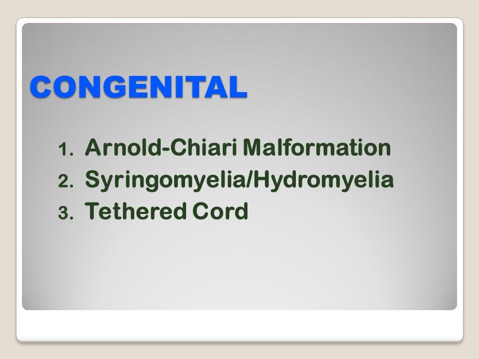 CONGENITAL Arnold-Chiari Malformation Syringomyelia/Hydromyelia