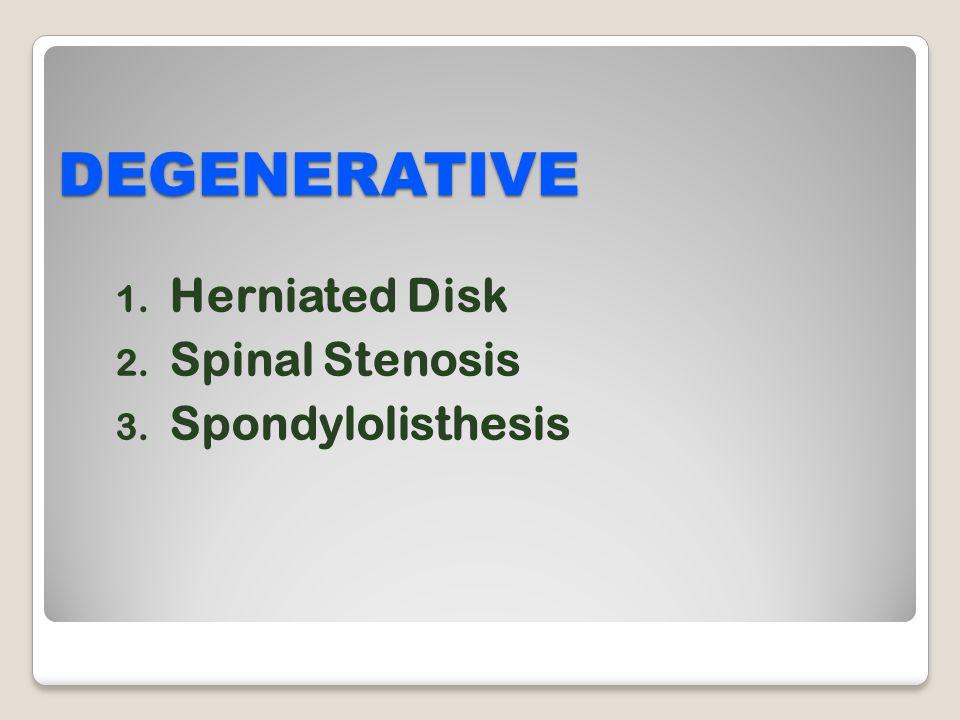 DEGENERATIVE Herniated Disk Spinal Stenosis Spondylolisthesis