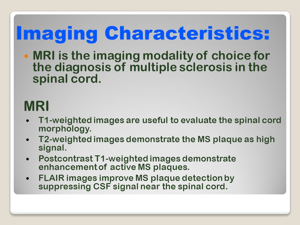 Imaging Characteristics: