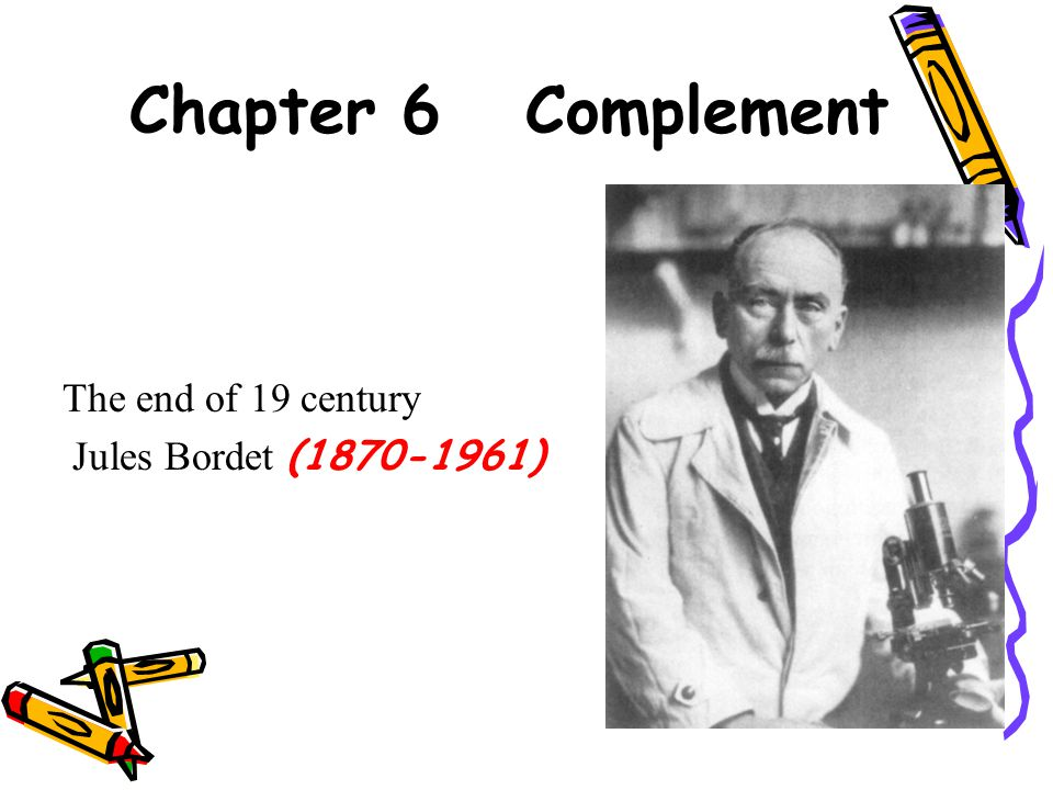 Chapter 6 Complement The end of 19 century Jules Bordet (1870-1961)