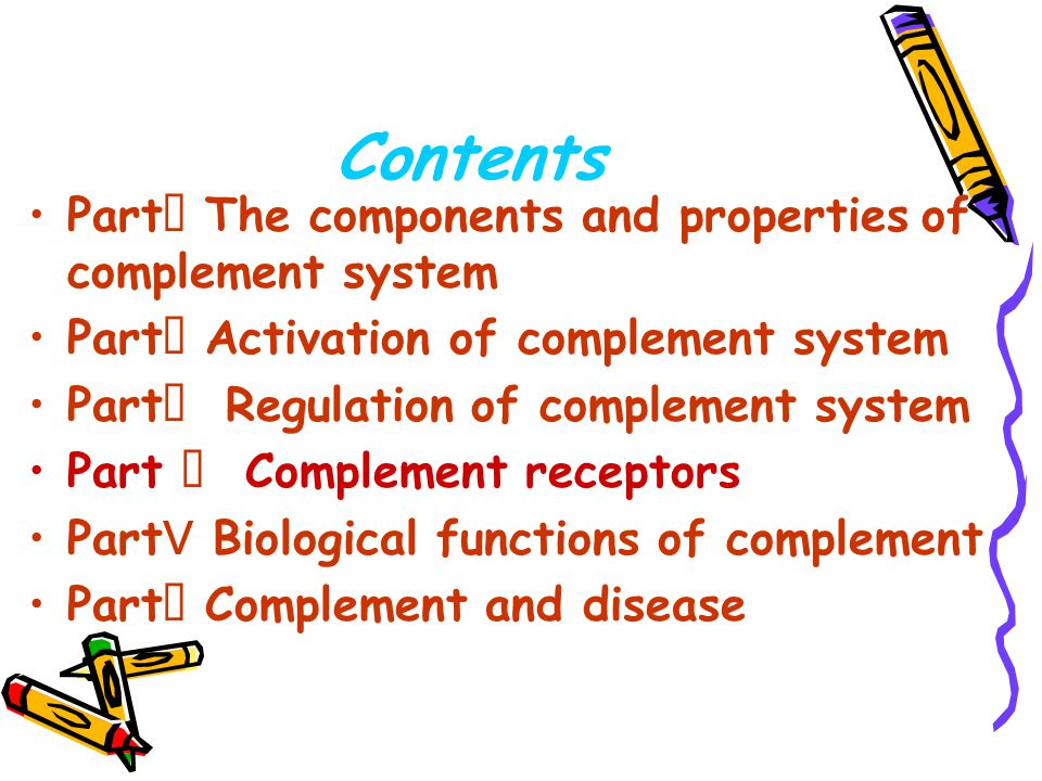 Contents PartⅠ The components and properties of complement system