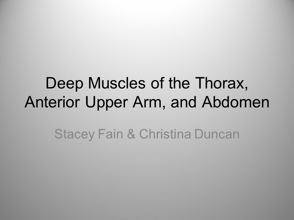 Deep Muscles of the Thorax, Anterior Upper Arm, and Abdomen