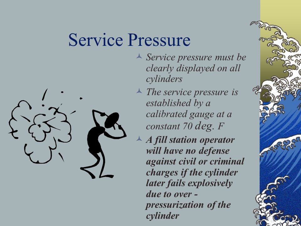 Service Pressure Service pressure must be clearly displayed on all cylinders.