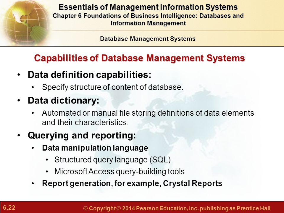 Capabilities of Database Management Systems