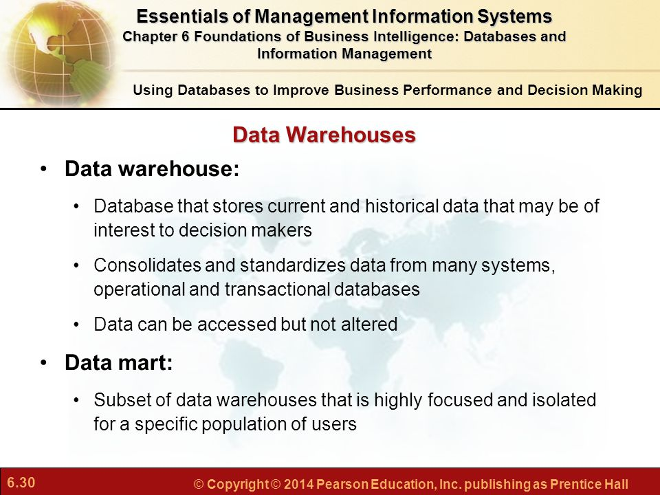 Data Warehouses Data warehouse: Data mart: