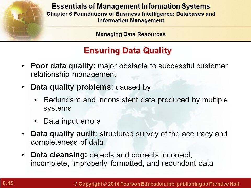 Essentials of Management Information Systems Managing Data Resources