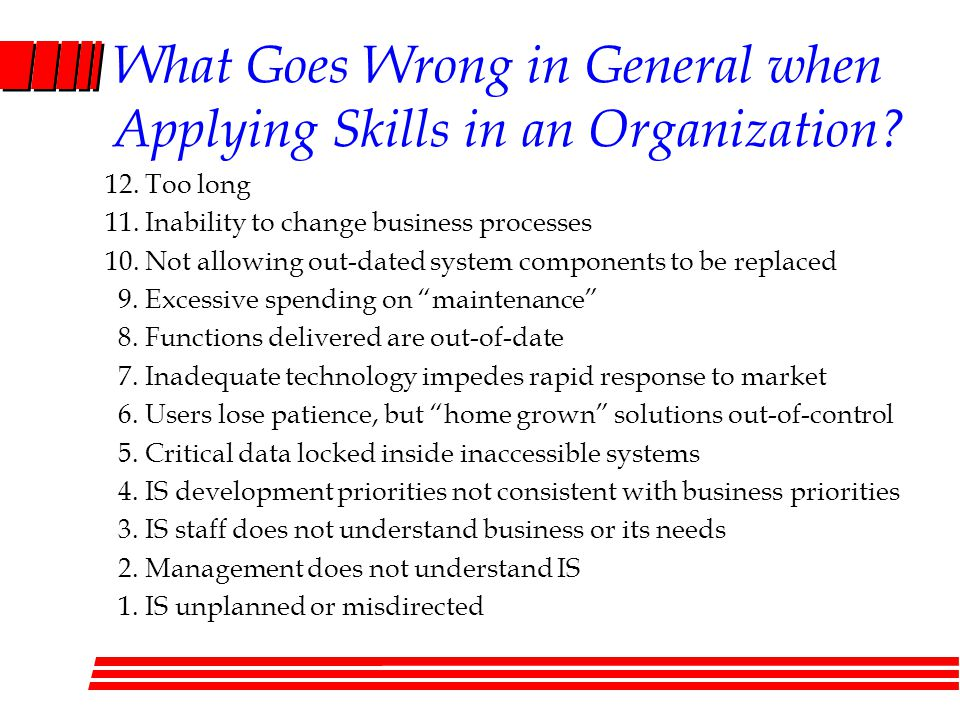 What Goes Wrong in General when Applying Skills in an Organization