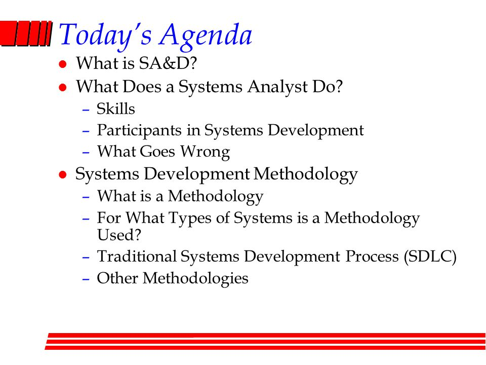 Today's Agenda What is SA&D What Does a Systems Analyst Do