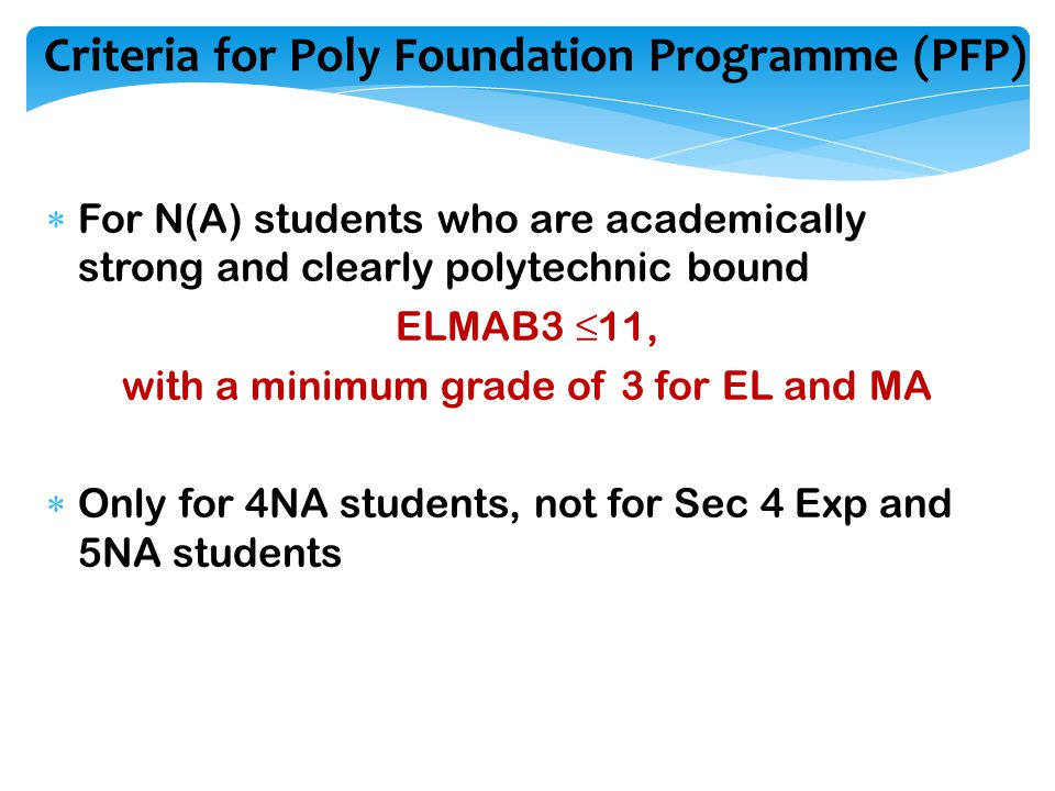 Criteria for Poly Foundation Programme (PFP)