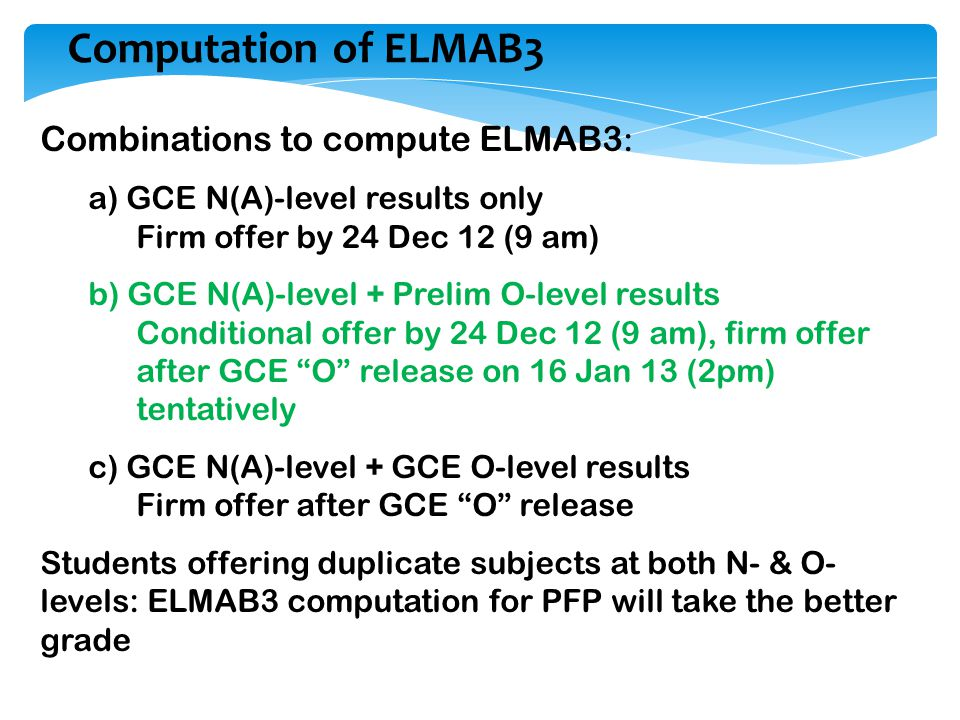 Computation of ELMAB3 Combinations to compute ELMAB3: