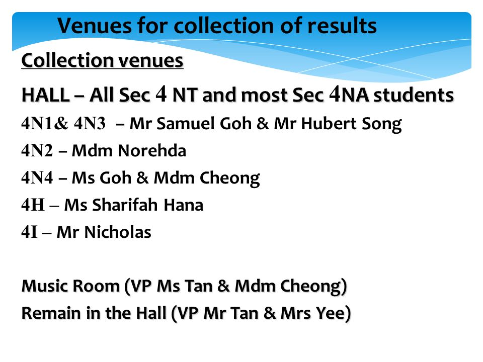 Venues for collection of results