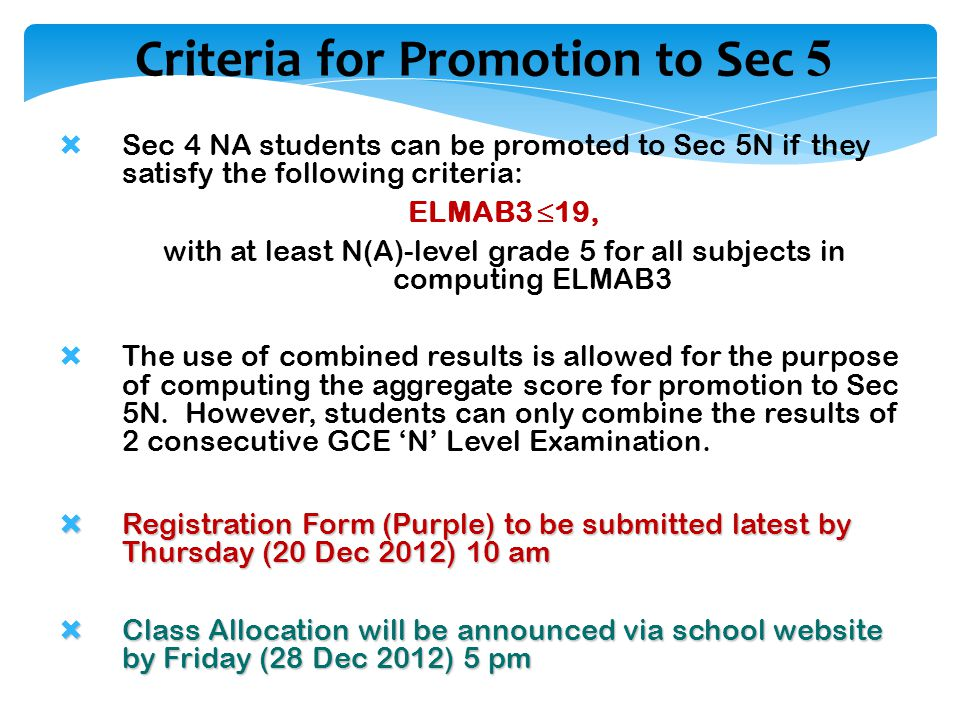 Criteria for Promotion to Sec 5