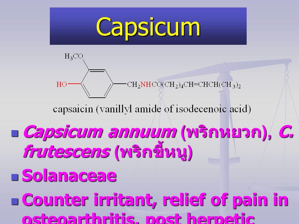 Capsicum Capsicum annuum (พริกหยวก), C. frutescens (พริกขี้หนู)