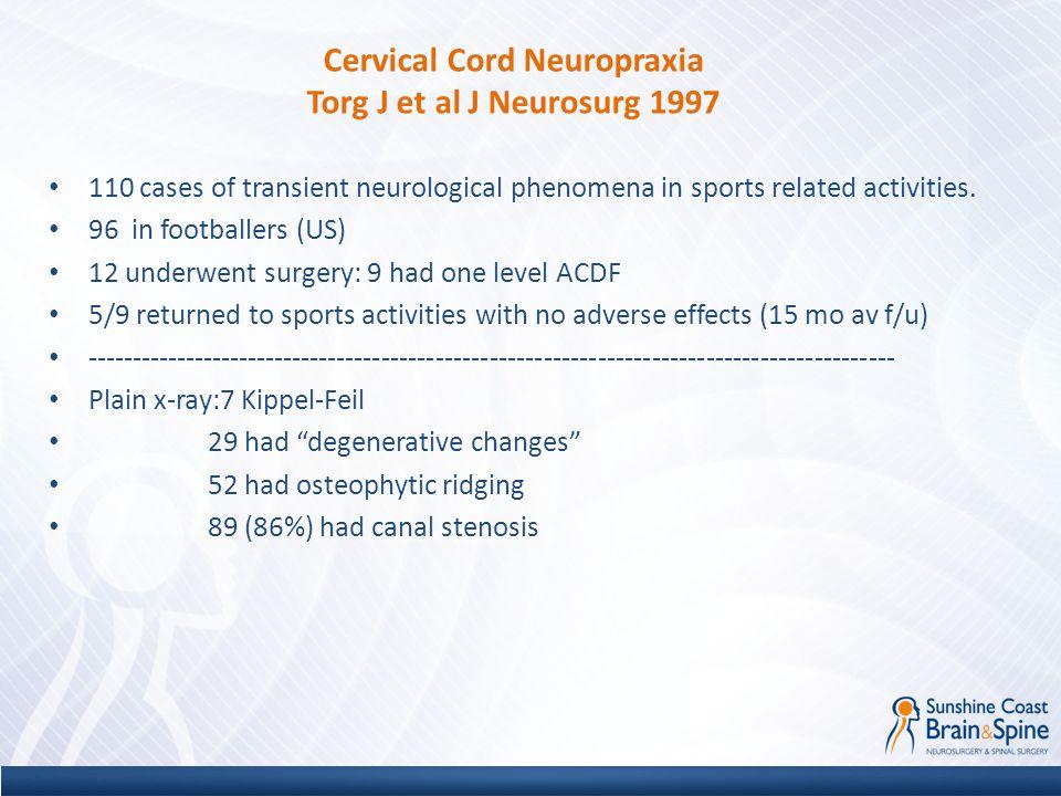 Cervical Cord Neuropraxia Torg J et al J Neurosurg 1997