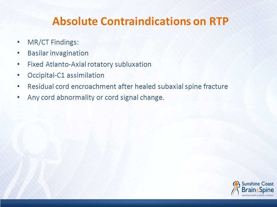 Absolute Contraindications on RTP