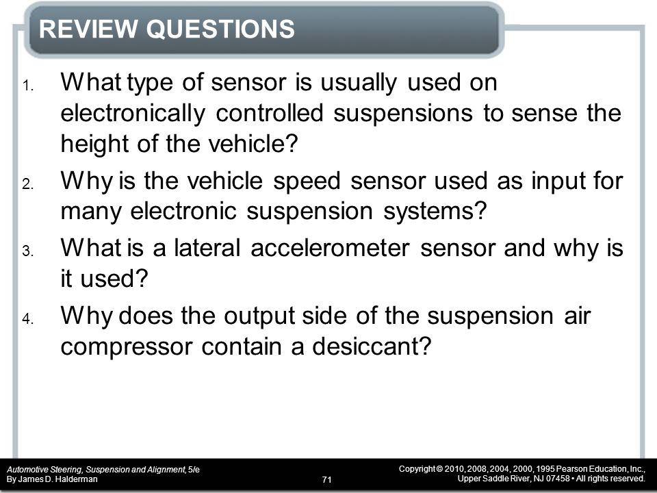 REVIEW QUESTIONS What type of sensor is usually used on electronically controlled suspensions to sense the height of the vehicle