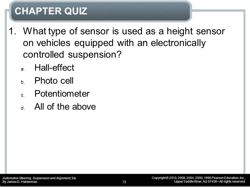CHAPTER QUIZ 1. What type of sensor is used as a height sensor on vehicles equipped with an electronically controlled suspension