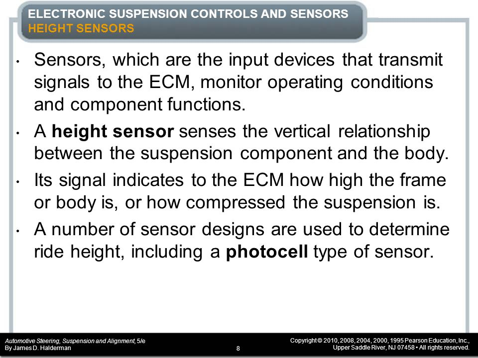 ELECTRONIC SUSPENSION CONTROLS AND SENSORS HEIGHT SENSORS