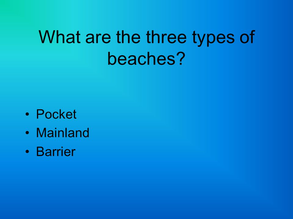 What are the three types of beaches
