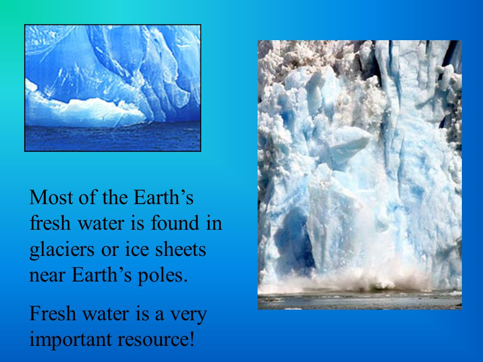Most of the Earth's fresh water is found in glaciers or ice sheets near Earth's poles.