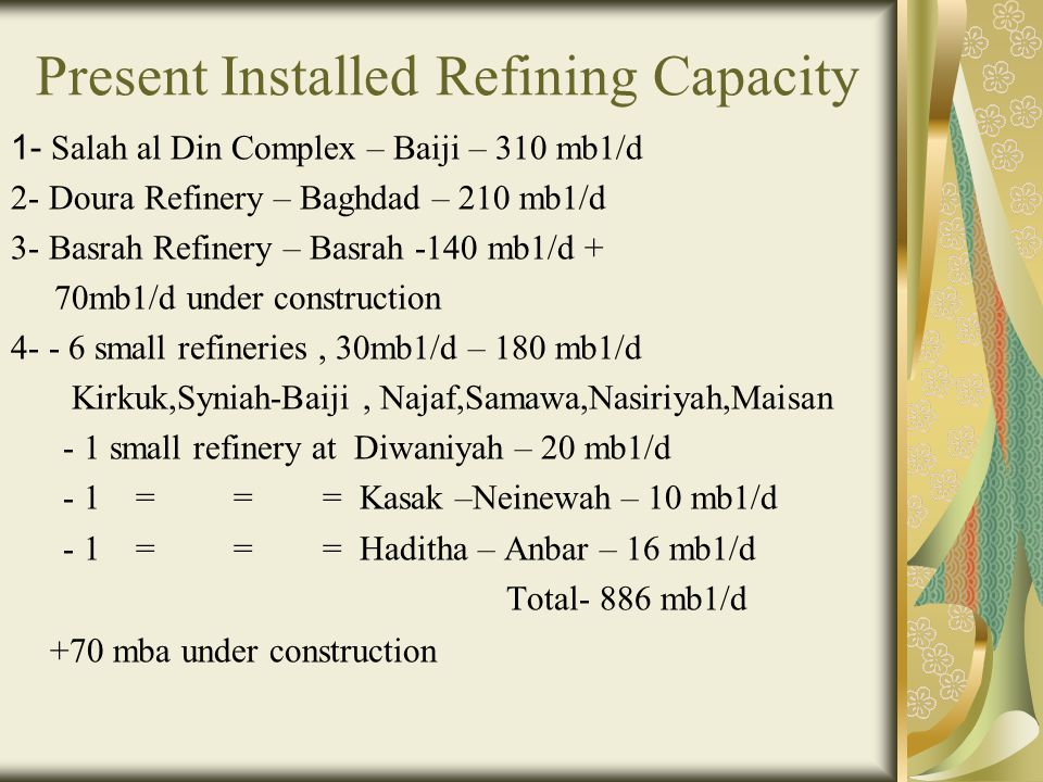 Present Installed Refining Capacity