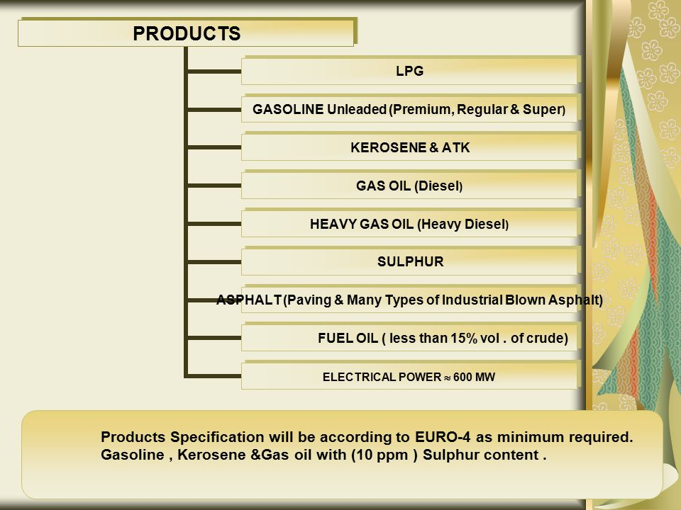 Products Specification will be according to EURO-4 as minimum required.