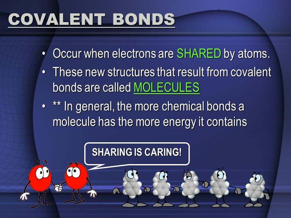 COVALENT BONDS Occur when electrons are SHARED by atoms.