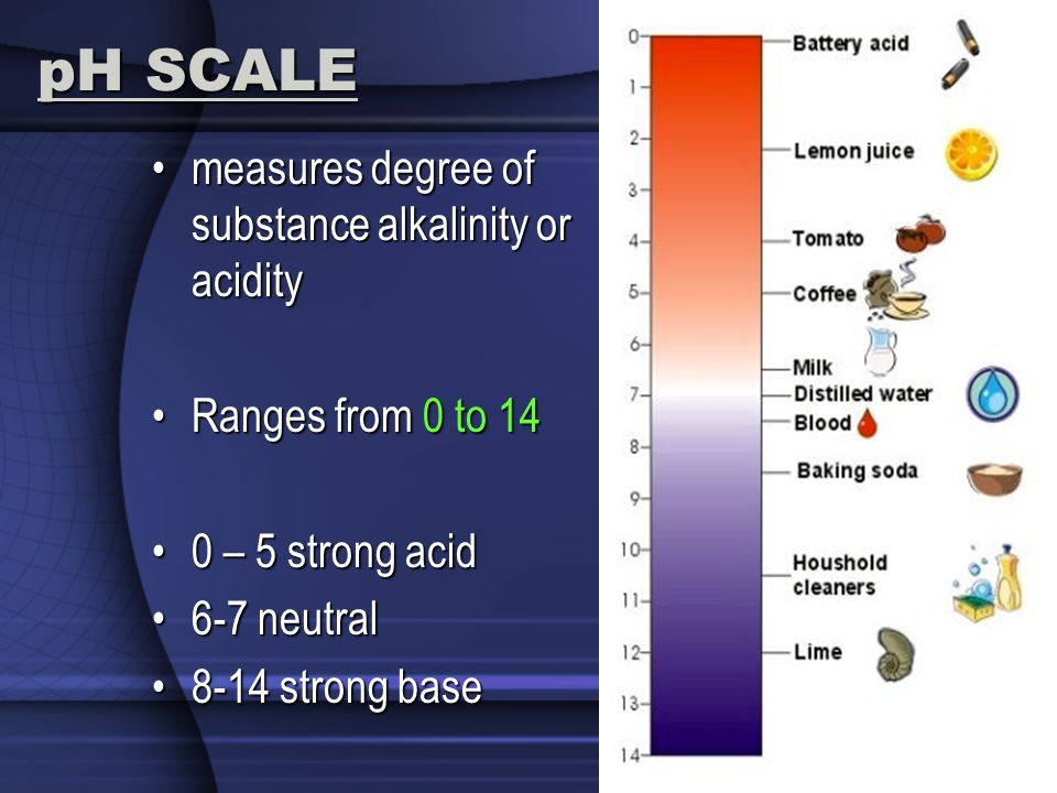 pH SCALE measures degree of substance alkalinity or acidity