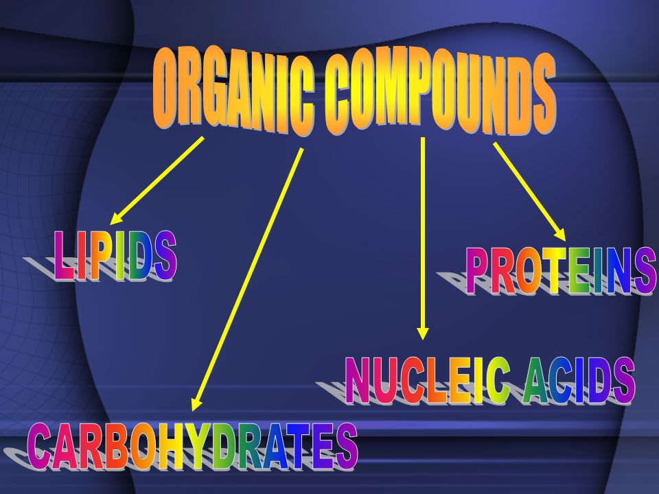ORGANIC COMPOUNDS LIPIDS PROTEINS NUCLEIC ACIDS CARBOHYDRATES