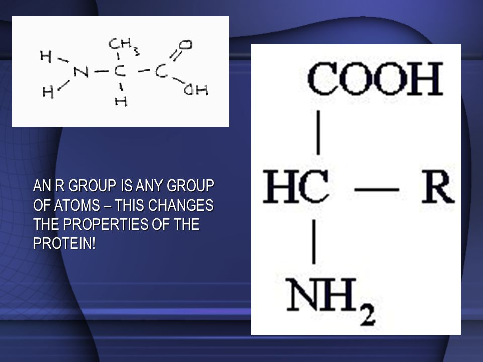 AN R GROUP IS ANY GROUP OF ATOMS – THIS CHANGES THE PROPERTIES OF THE PROTEIN!