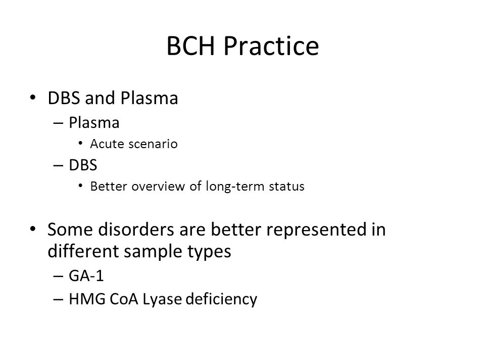 BCH Practice DBS and Plasma