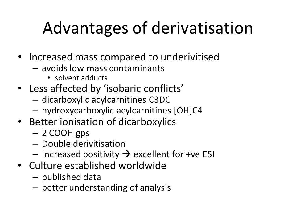 Advantages of derivatisation