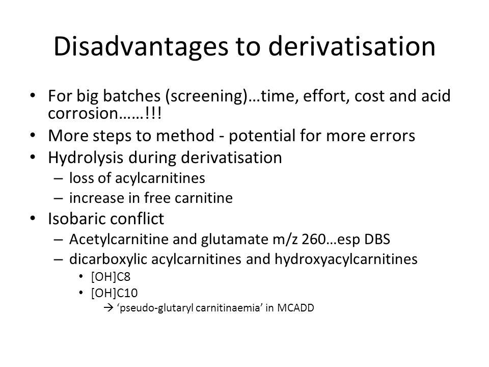 Disadvantages to derivatisation