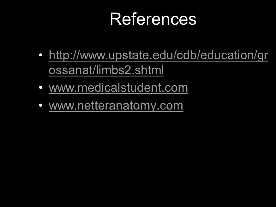 References http://www.upstate.edu/cdb/education/grossanat/limbs2.shtml