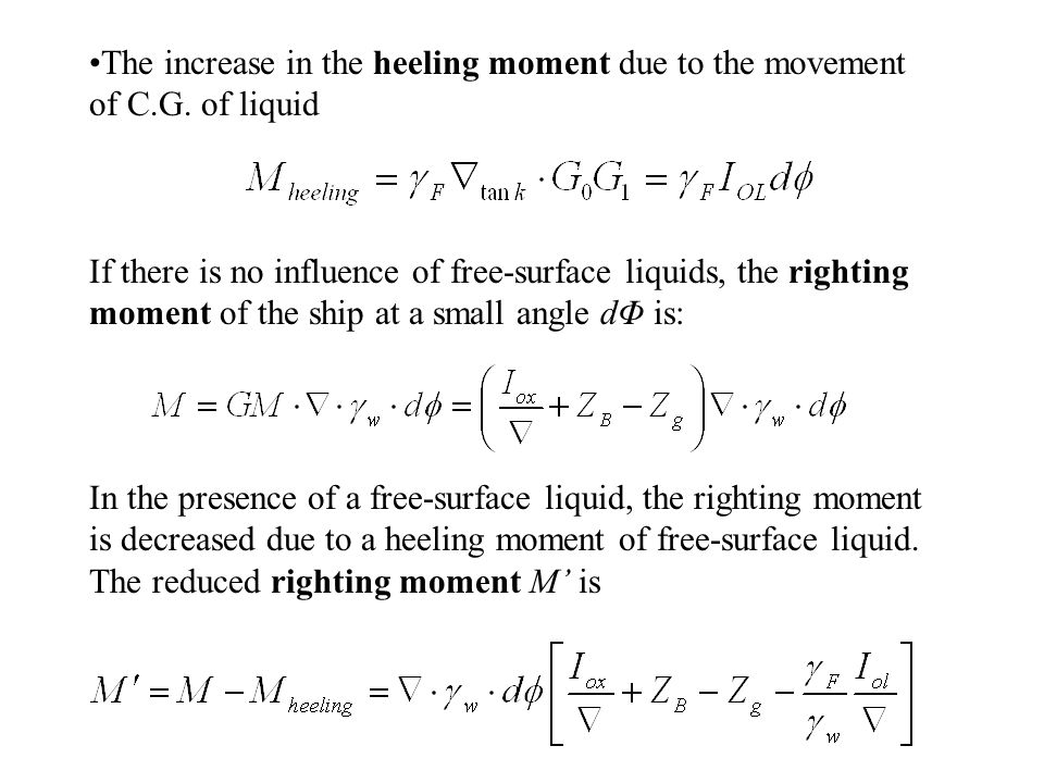 The increase in the heeling moment due to the movement of C. G