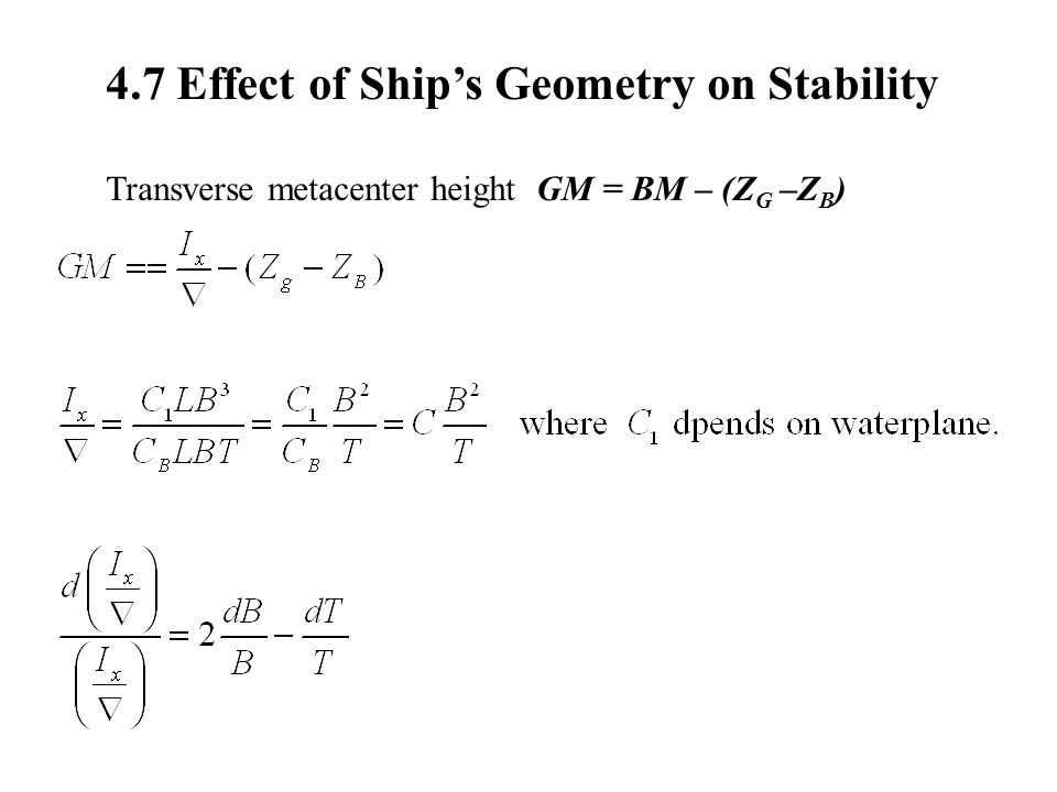 4.7 Effect of Ship's Geometry on Stability