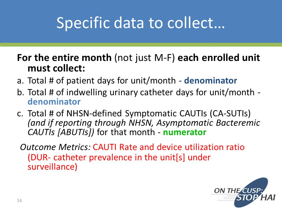 Specific data to collect…