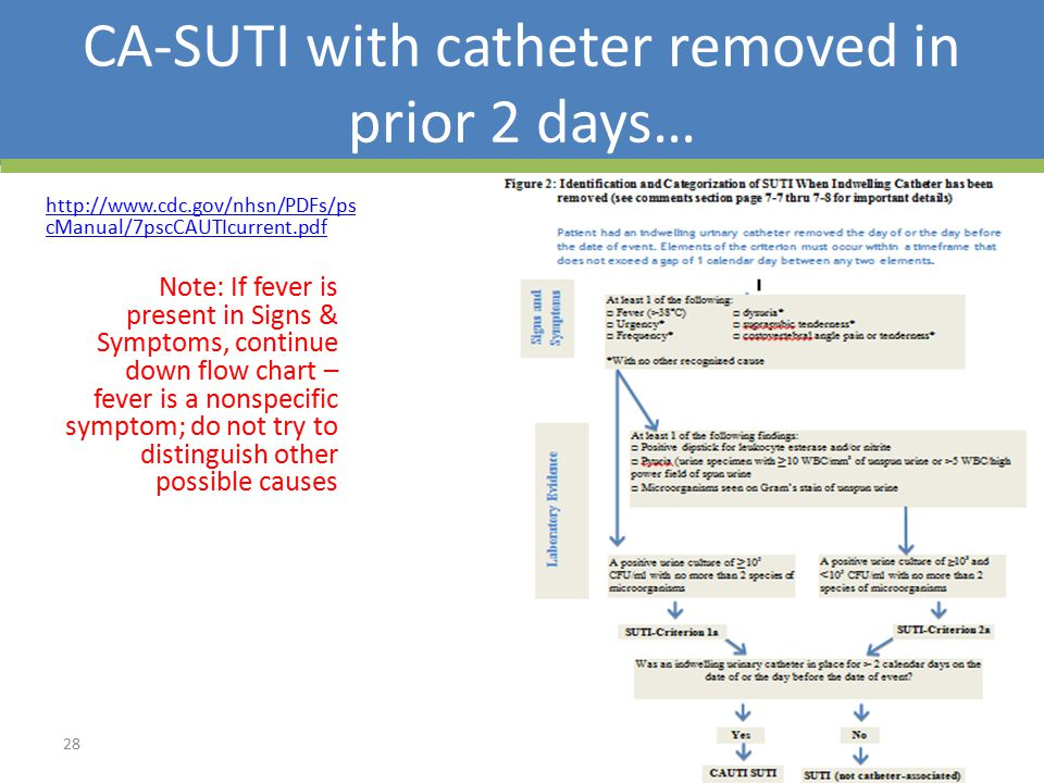 CA-SUTI with catheter removed in prior 2 days…