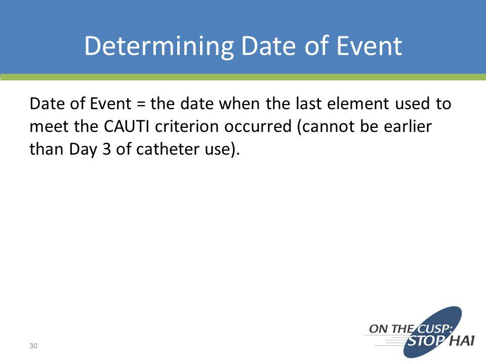 Determining Date of Event