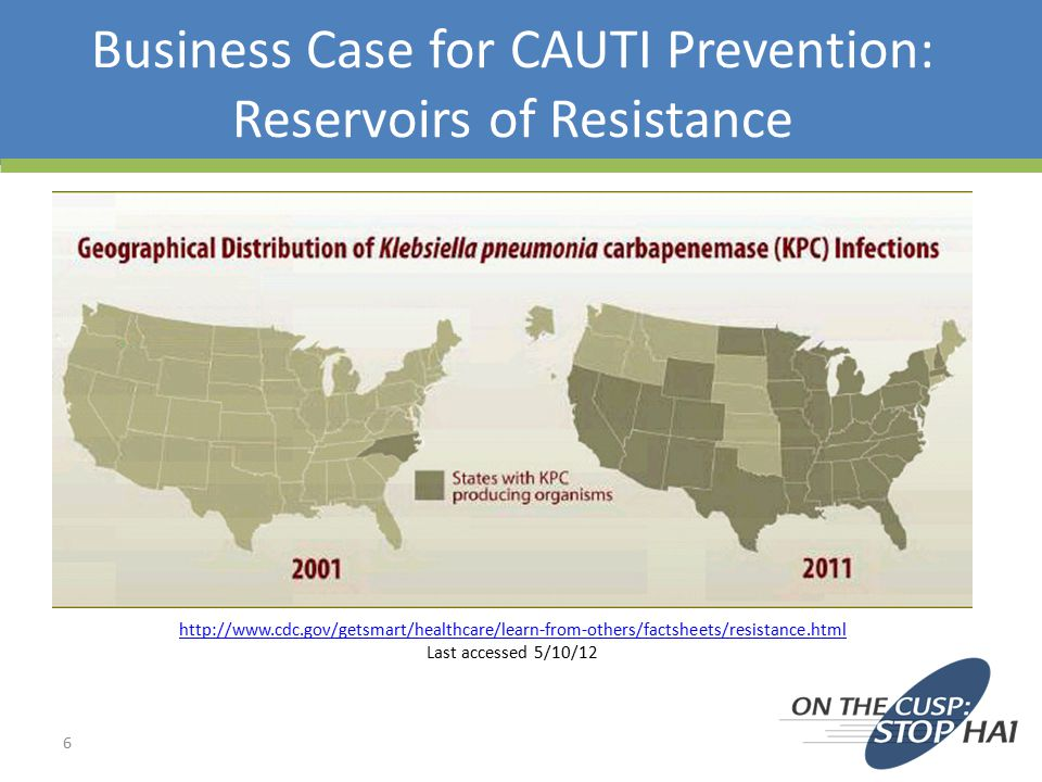 Business Case for CAUTI Prevention: Reservoirs of Resistance